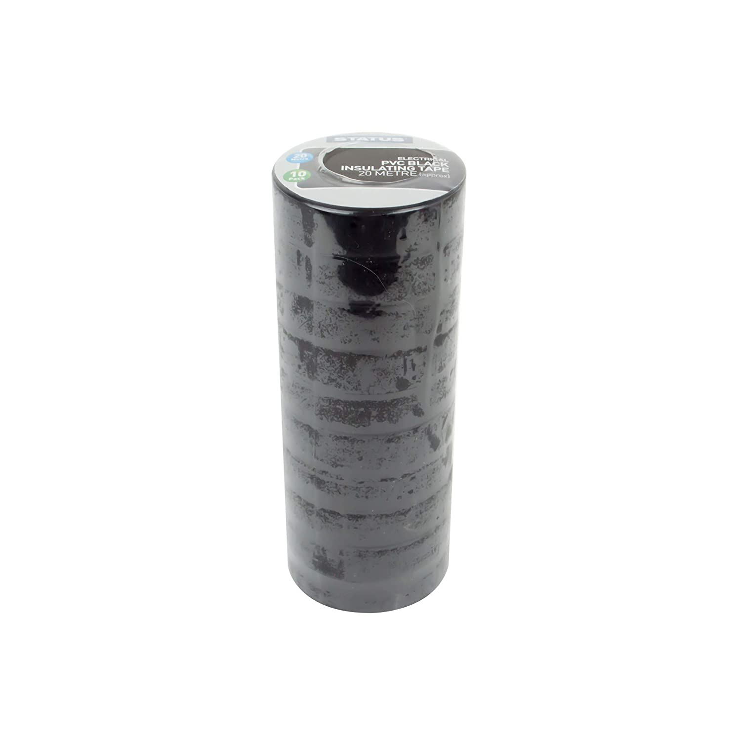 Status SBLKPVCET10 10 Role Multipack Electrical PVC Insulating Tape, Black, 20 m, Set of 10 Pieces