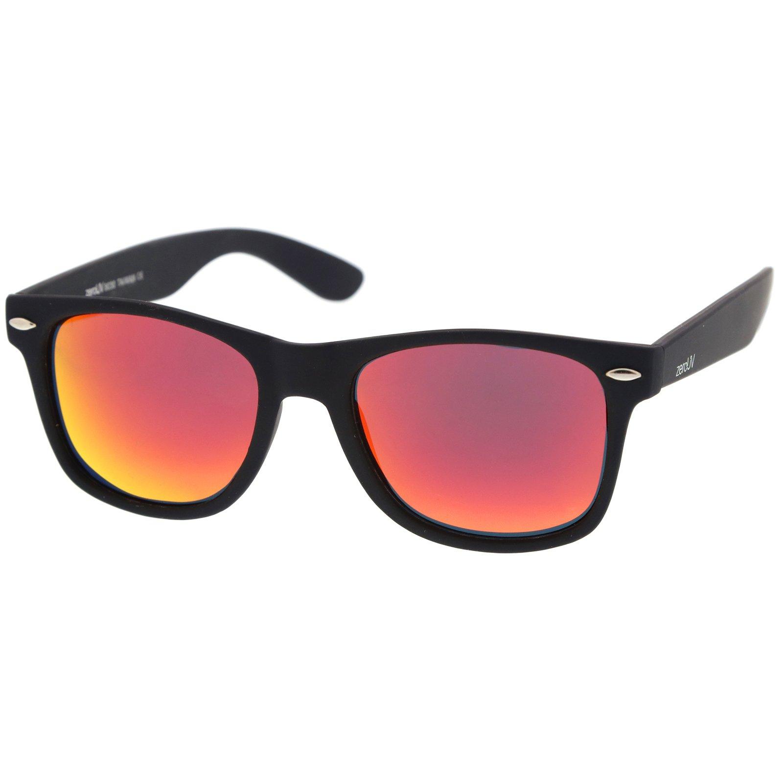 zeroUV - Rubberized Frame Reflective Mirror Polarized Lens Square Horn Rimmed Sunglasses 55mm (Polarized | Rubberized/)