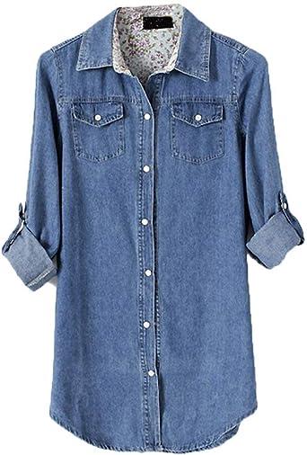 Camisa De Manga Larga Mezclilla De Blusa De Suelta Modernas Casual para Mujer Camisa De Camiseta Camisa De Época De Túnica Elegante Camisa De Mezclilla De Cuello Camisa De Otoño: Amazon.es: Ropa