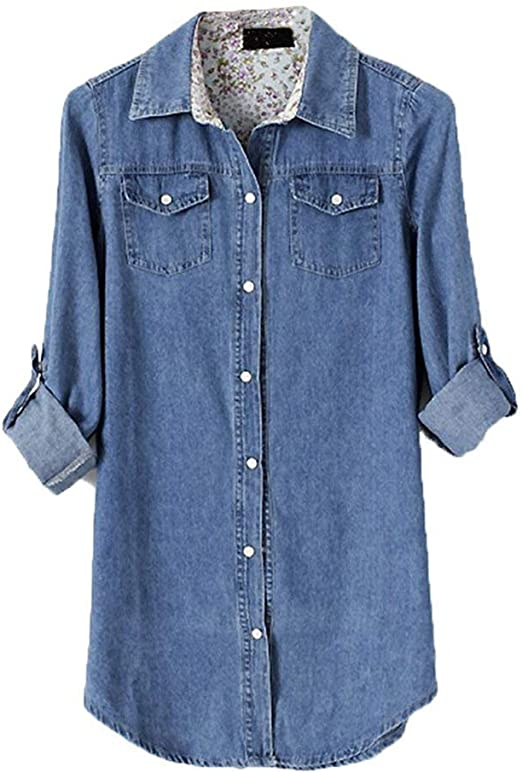 Camisa De Manga Larga De Blusa De Mezclilla Suelta Camisa para Mujer Basicas De Camiseta Camisa De Época De Túnica Elegante Camisa De Mezclilla De Cuello Camisa De Otoño: Amazon.es: Ropa y