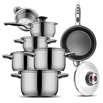 docheer ollas (acero inoxidable 18/10, 13 y 18/8 hoffmayro, anti-hot juegos de utensilios de cocina: Amazon.es: Hogar