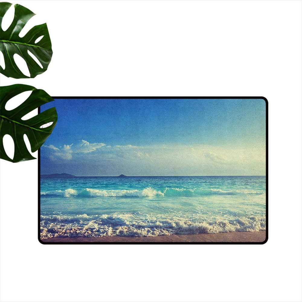 color06 W31\ Ocean Non-Slip Door mat Tropical Island Paradise Beach at Sunset Time with Waves and The Misty Sea Image Easy to Clean W31 x L47 Cream Turquoise
