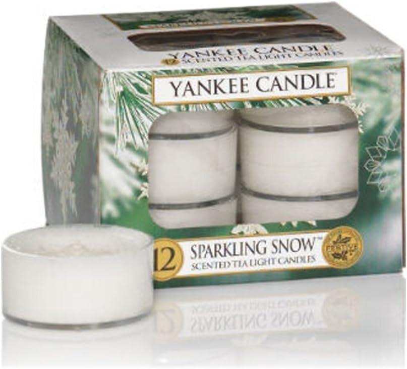 YANKEE CANDLE 1144168E Boite de 12 lumignons Neige /étincelante Combinaison 8,6x8,8x6,3 cm Sparkling Snow Blanc