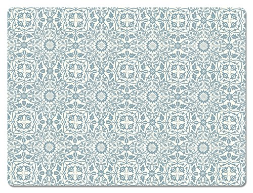 Hadley Table William Blue and White Hard Placemats SET OF 4 (Hardboard Placemats Set)