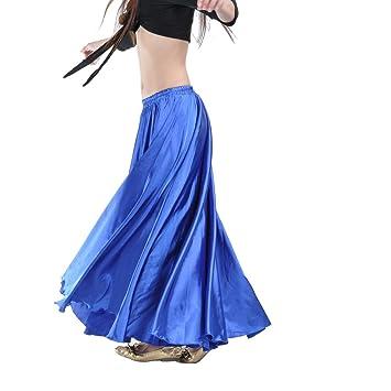 Azul marino largo de satén azul danza del vientre falda grande de color sólido largo vestido