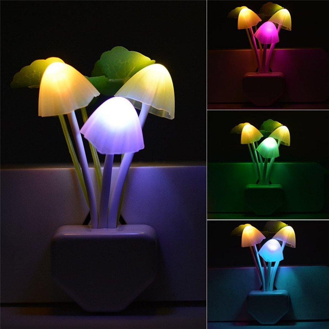 プラグイン LED Lotus 夜間ライト スマート夕暮れから夜明けのセンサー and 0.6W Leaves マルチカラー キノコ ドリーム ベッド ナイトライト 省エネウォールランプ フラワー ノベルティギフト Z-MNL Mushrooms and Lotus Leaves B07G1RBHVB, オリーブおばさん:30f84103 --- ijpba.info