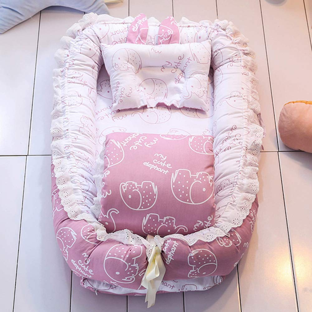 Portable Baby Nest Newborn Bionic Bed Removable Travel Bed Bed Bumper Quilt + Pillow H by AIBAB