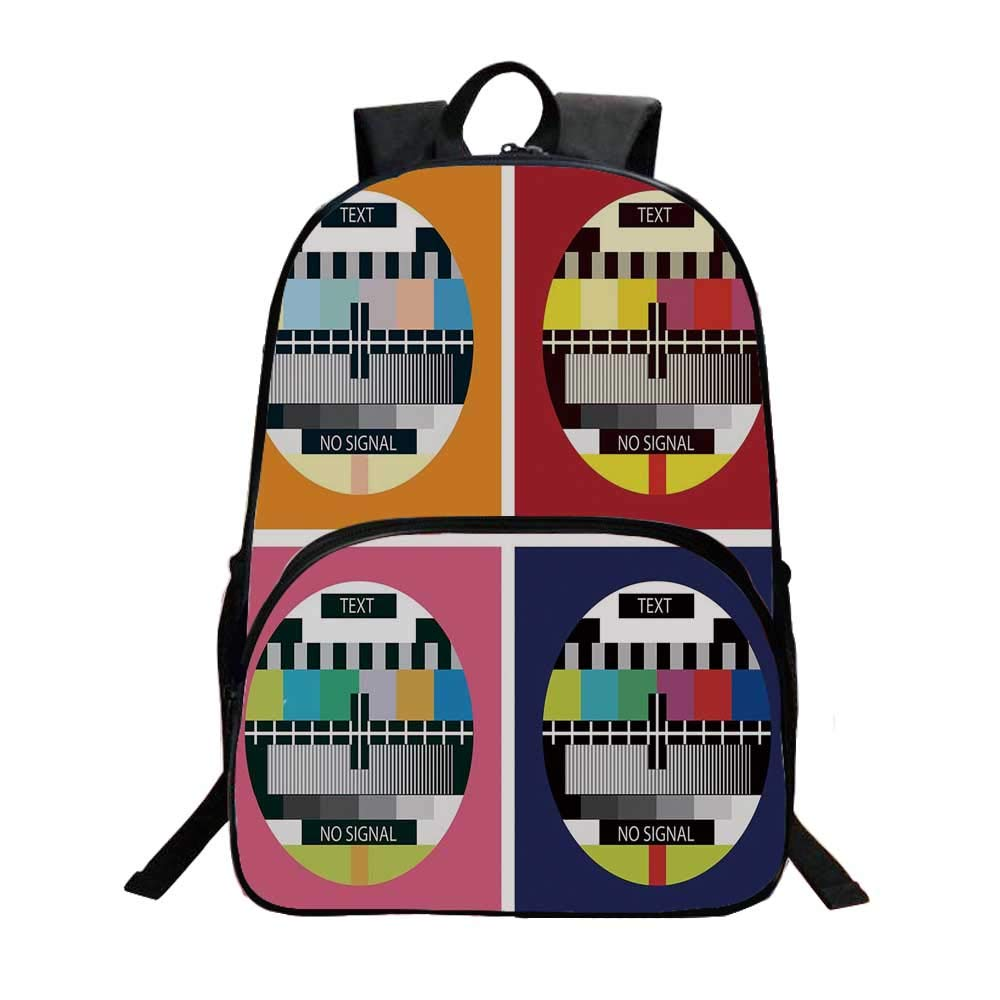 Modern Decor Fashionable Backpack,Television Radio Channel Signal Digital Sign in Four Collage Artwork Image for Boys,11.8''L x 6.2''W x 15.7''H by TecBillion