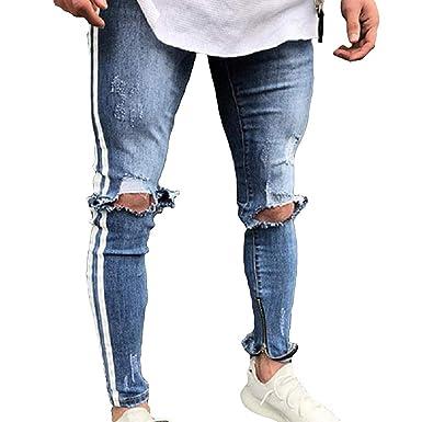 Huateng Herren Broken Lochstreifen Skinny Jeans Zipper