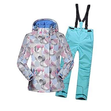 3c89d6891592 LSERVER Veste de Ski Enfant Filles Vêtement de Neige Epaisse Pantalon de Ski  Blouson Sport,