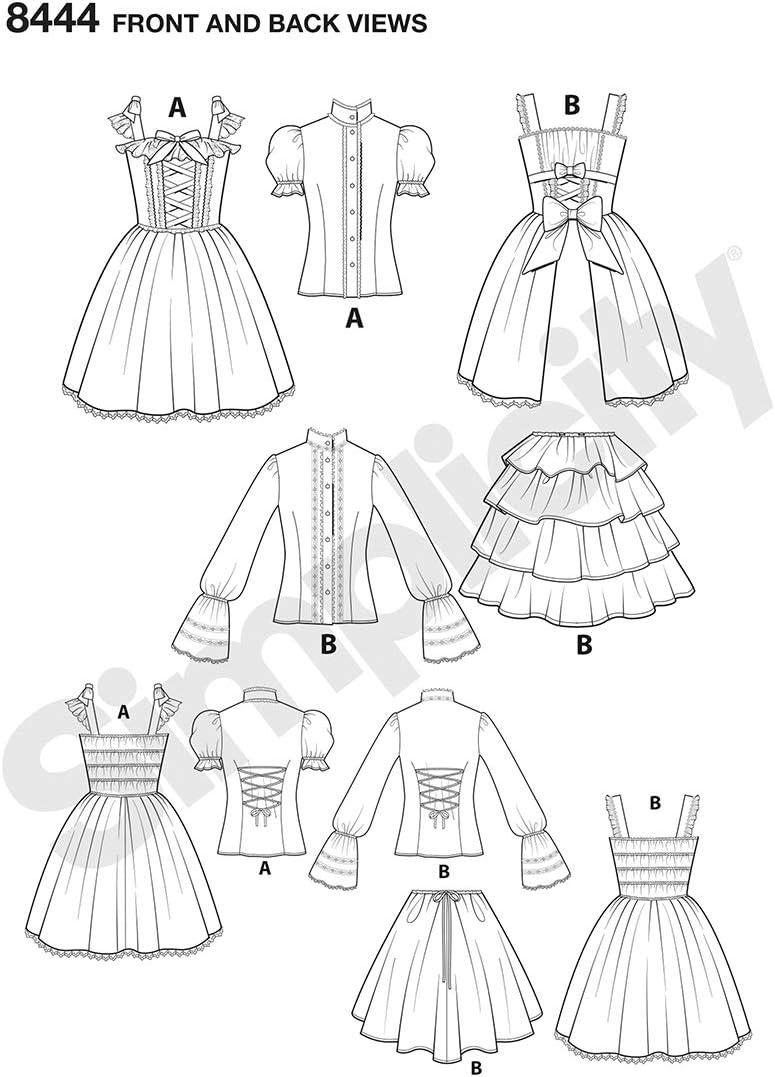 Papier Simplicity 8444Pattern 8444 Damen Lolita-Kost/üm Wei/ß 36-38 D5