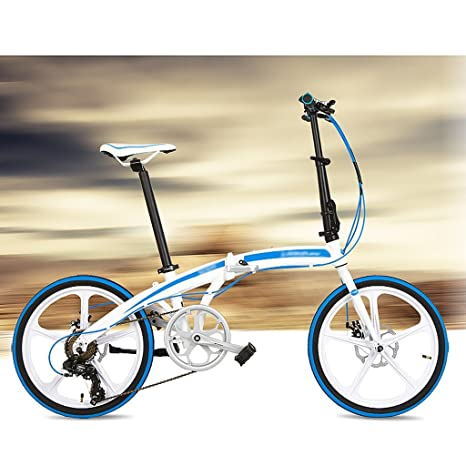 Bicicleta plegable 20 pulgadas de aleación de aluminio ultraligero rueda pequeña 7 velocidades de freno de disco bicicleta (Color : Blanco azul) : ...