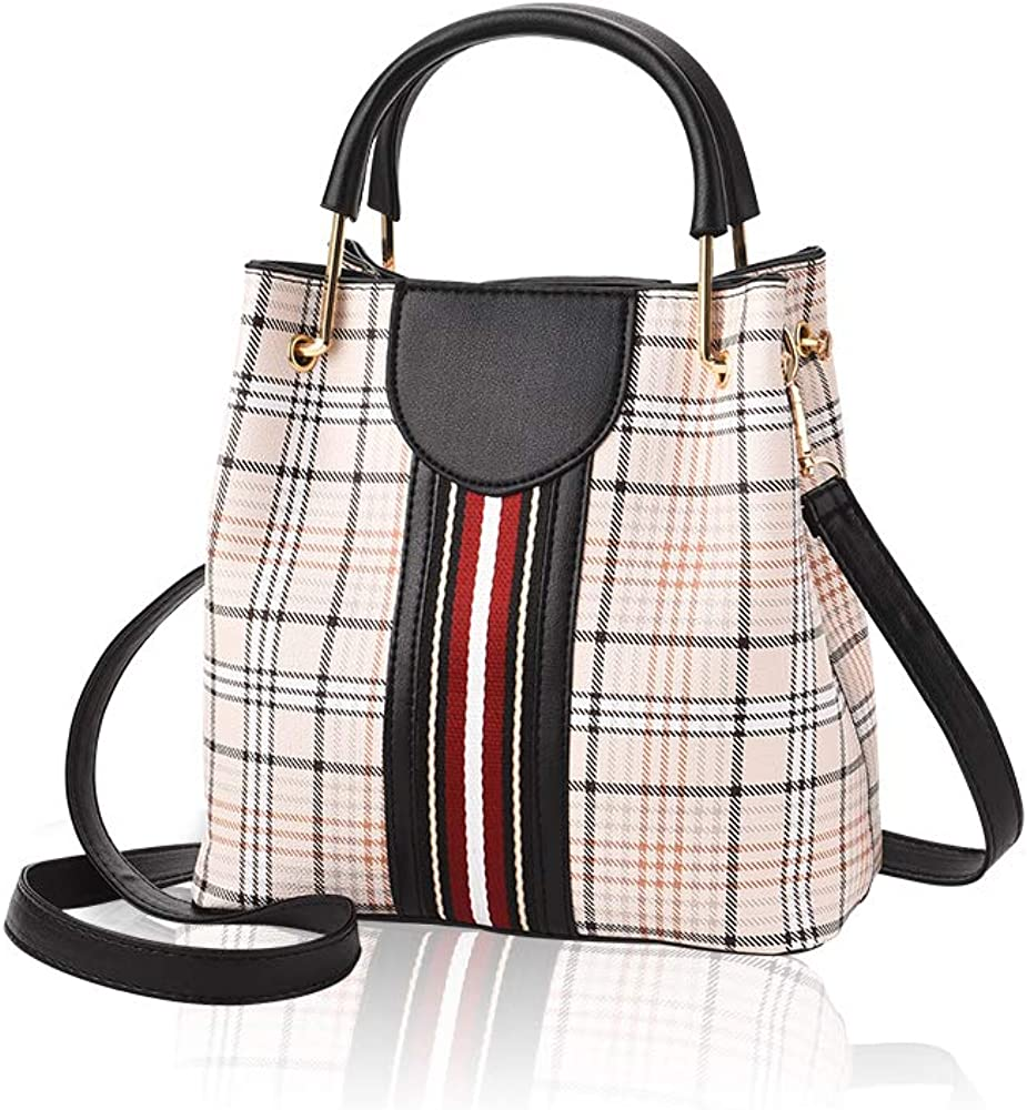 MICKORS Small Crossbody Bags Purses and Shoulder Handbags for Women Top Handle Satchel Ladies Tote Bags with Vertical Stripes