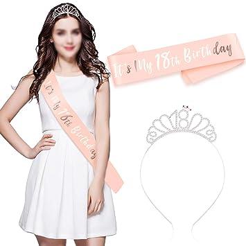 HOWAF Oro Rosa Feliz 18 cumpleaños Faja Banda de satén cumpleaños Sash y 18 Diadema Tiara para niña Mujer 18 Años cumpleaños Fiesta de Decoración ...