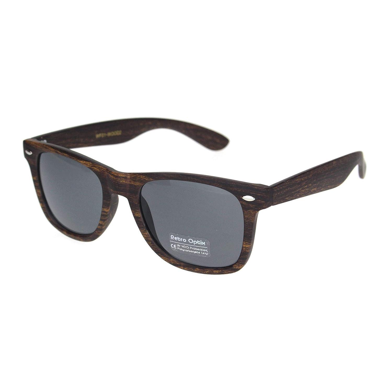 Mens Dark Brown Wood Grain Print Hipster Horn Rim Plastic Sunglasses