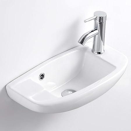 Qi Yi Bathroom Vanity Ceramic Vessel Sink Wall Mount Small Half