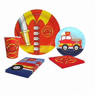 Blue Orchards Fire Truck Deluxe Party Packs (70 Pieces for 16 Guests!), Fireman Party Supplies: Toys & Games