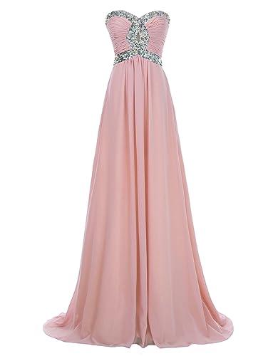 Erosebridal Long Chiffon Prom Dress 2017 Evening Gown Crystal Beaded