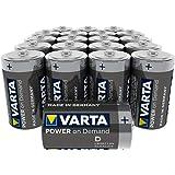 Varta Pile Power on Demand Confezione 20 Batterie Alcaline, Tipo D LR20