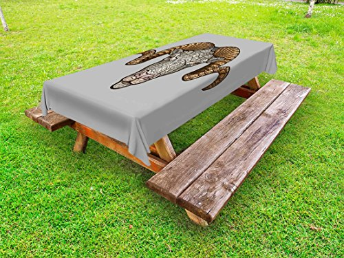 Ambesonne Zodiac Aries Outdoor Tablecloth, Animal with Artistic Fractal Look and Big Horns Strength Symbol, Decorative Washable Picnic Table Cloth, 58 X 120 inches, Pale Grey and Pale Brown by Ambesonne