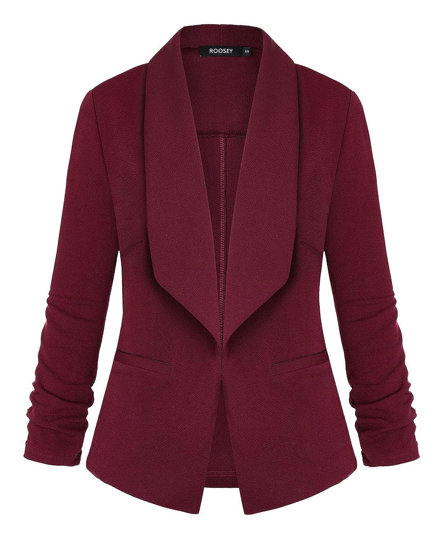 051wr ROOSEY Women's Stretch 3 4 Sleeve Casual Work Office Open Front Blazer Jacket
