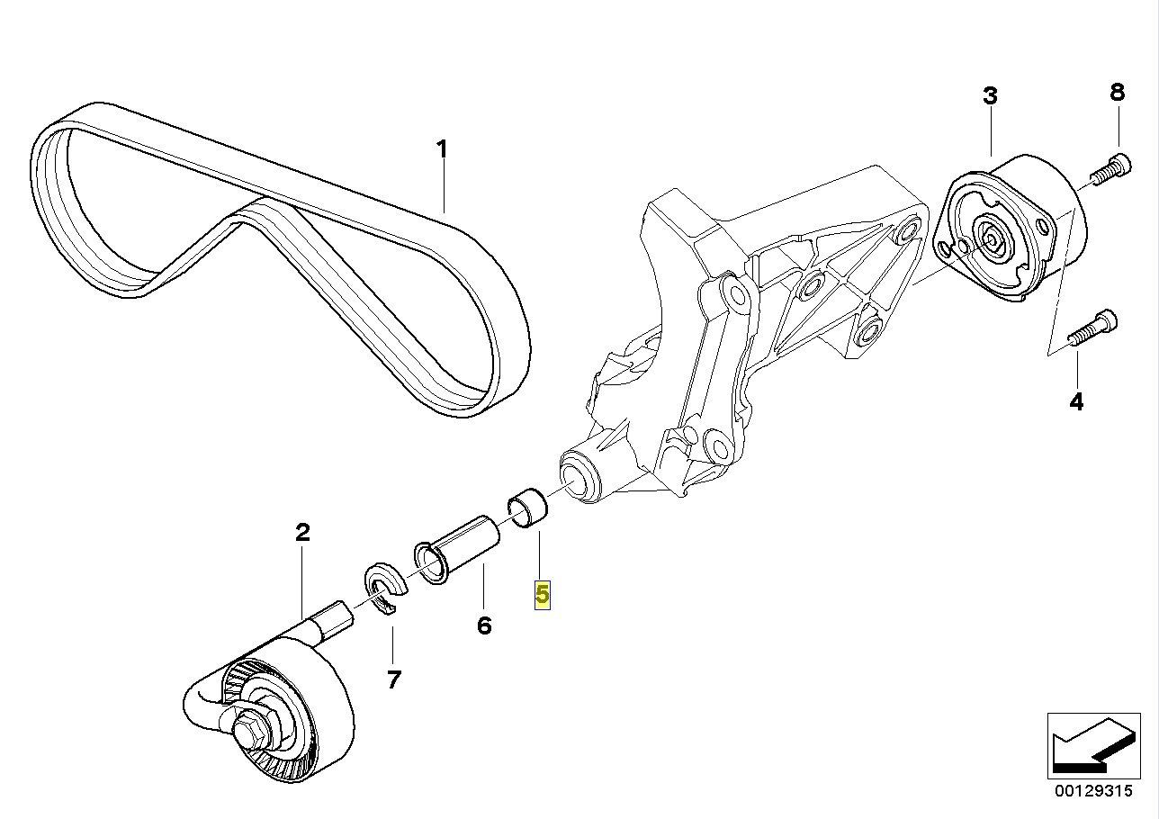 BMW M57 Engine Aircon Drive Belt Tensioner Bush 7788090 64557788090