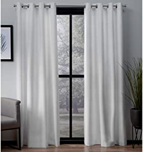Exclusive Home Curtains London Textured Linen Thermal Window Curtain Panel Pair with Grommet Top, 54x96, Winter White, 2 Count