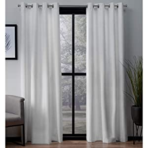 Exclusive Home Curtains London Textured Linen Thermal Window Curtain Panel Pair with Grommet Top, 54x84, Winter White, 2 Piece