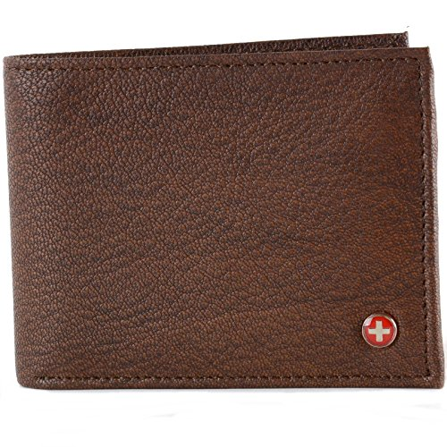Alpine Swiss Men's Genuine Leather Wallet Slim Flip-out Bifold Antique Brown