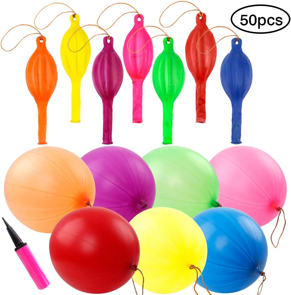 Coceca 50pcs 18 Inches Assorted Color Punch Balloons Great for Ball Balloons Party, Wedding, Fun Balloons