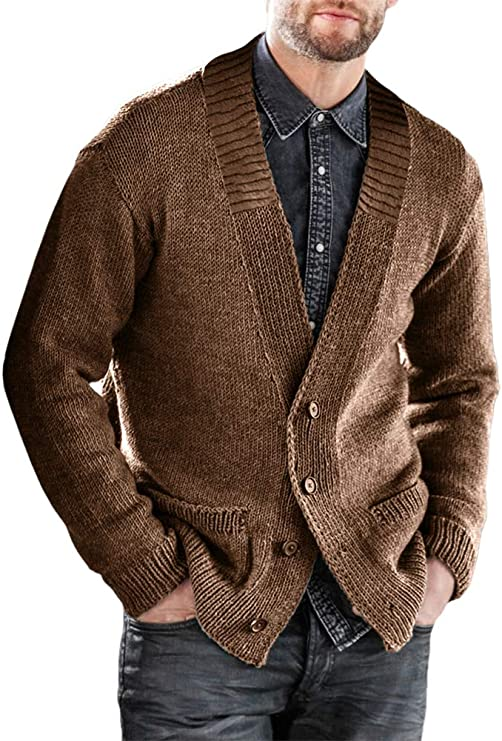 Gafeng Mens V Neck Button Down Rib Knitted Thermal Thick