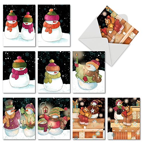 10 Assorted Blank Note Cards 'Snow Pals' (Mini 4