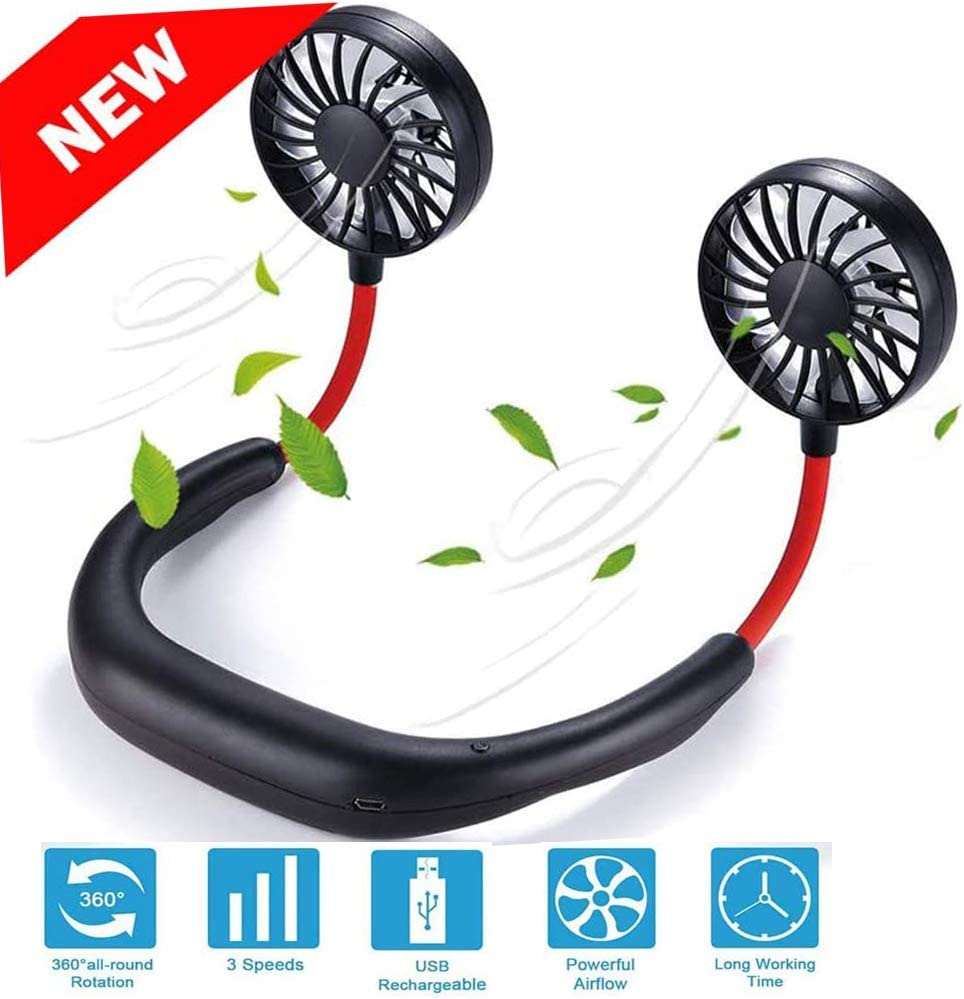 Portable Personal Neck Fan, Hands Free USB Rechargeable Hanging Fan, 360° Adjustable Headphone Wearable Neckband Fan, 2000mAh Mini Fan for Traveling Outdoors Camping Office-Black/Red