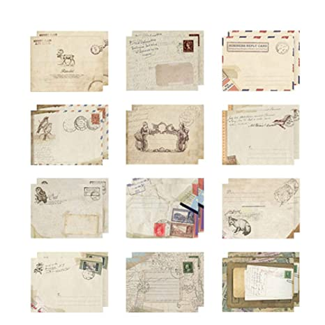 Toyvian 48pcs Retro Envelope Kraft Envelope Invitaciones ...