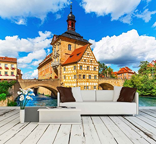 Scenic Summer View of the Old Town Architecture with City Hall Building in Bamberg Germany