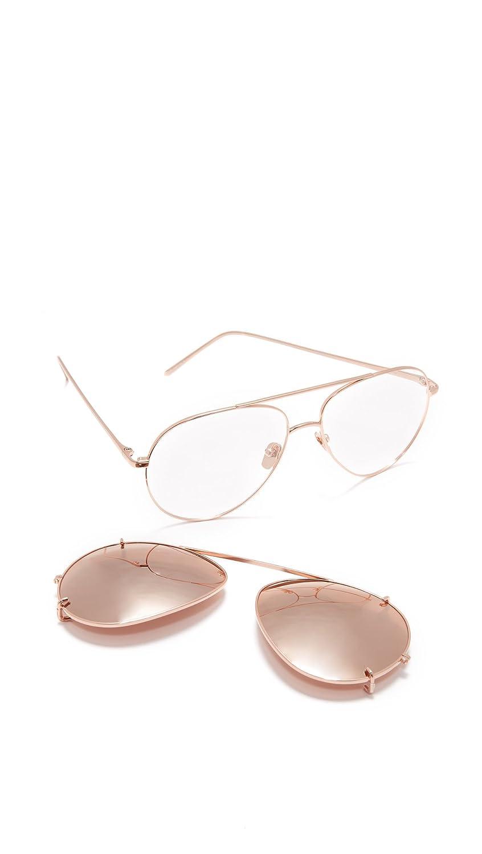 2a7811f676c7 Amazon.com  Linda Farrow Luxe Women s Aviator Clip On Sunglasses ...