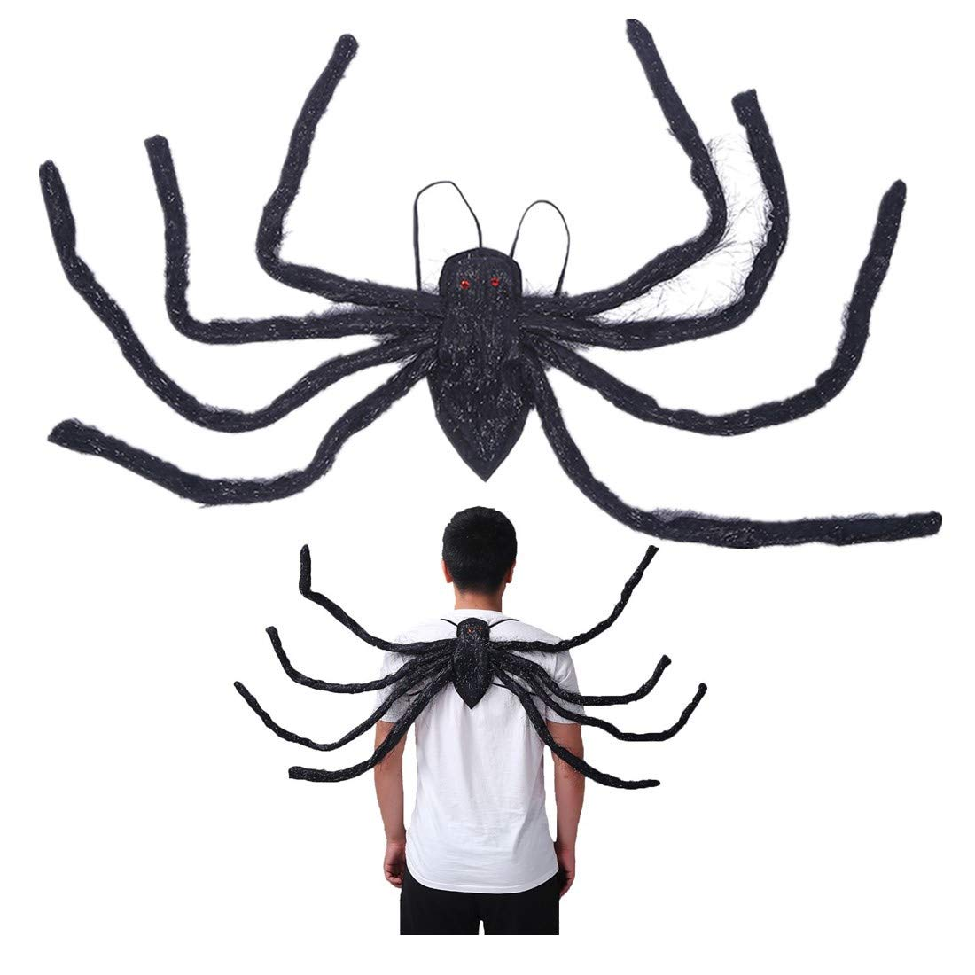 59 Inch Fake Spider with Straps Hairy Spider Realistic