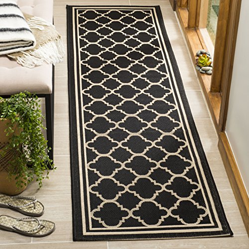 Safavieh Courtyard Collection CY6918-226 Black and Beige Indoor/ Outdoor Runner (2'3