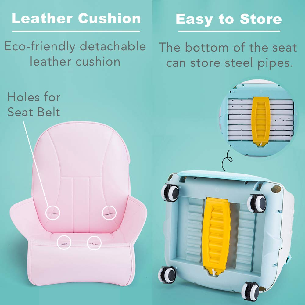 Pink Rufun Baby Highchair Portable with Cushion Wheels Booster Seat