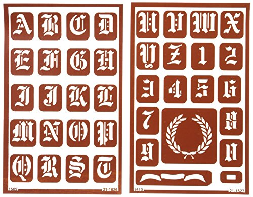 Armour Etch Over N Over Stencil, 1-Inch High Alphabet, 2 ()