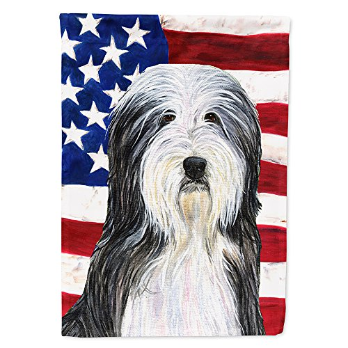 Caroline's Treasures SS4024CHF USA American Flag with Bearded Collie Flag Canvas, Large, Multicolor ()