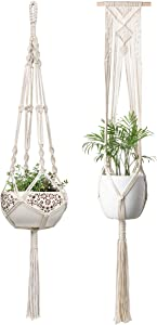 Mkono Macrame Plant Hanger Hanging Planter Wall Art Boho Home Decor 41 Inches and 46 Inches, Set of 2