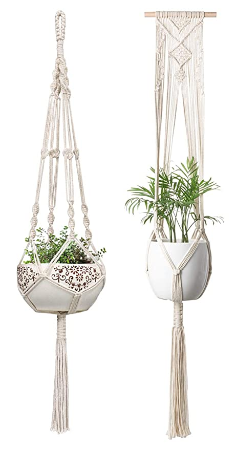 Garden Supplies Macrame Plant Hanger Hanging Planter Wall Art Boho Home Decor 41 Inches Decorative Flower Pot Holder Boho Bohemian Home Hanging Baskets