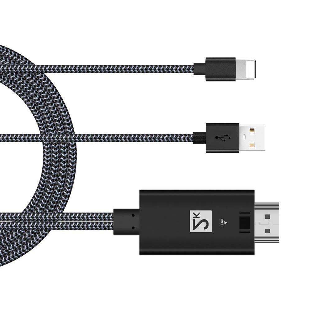 D-Wing HDMI Adapter Cable for iPhone 8 / 8plus / X / 7/7 Plus / 5 / 5c / 5s / SE / 6/6 Plus / 6S / 6S Plus, for iPad -Easy To Use