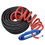"""Black 3/8""""X85ft Synthetic Winch Rope 20500LBS Synthetic Winch Line Rope Cable 3/8""""x85' w/ All Heat Guard Rock Guard + Billet Aluminum Hawse Fairlead 8000LBS-15000LBS (Blue)"""