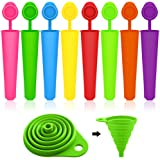 Popsicle Molds with Collapsible Funnel, SENHAI 8 Packs Silicone Ice Pop Ice Cream Makers with Attached Lids, Packed with 1 Green Foldable Funnel