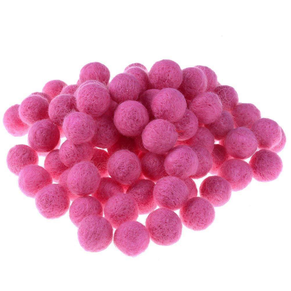 JUNKE 100 PCS Wool Felt Balls Handmade Wool Balls Beads Embellishments for Manual Craft DIY Making, 20MM (0.78