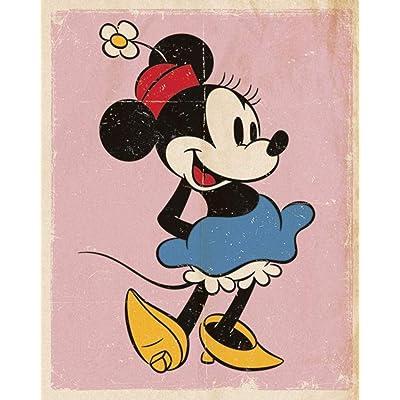 "Pyramid International"" Retro Minnie Mouse Mini Poster, Plastic/Glass, Multi-Colour, 40 x 50 x 1.3 cm: Kitchen & Dining"