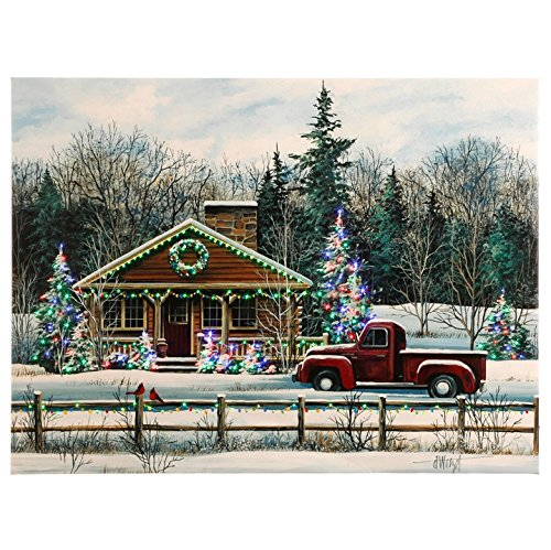 Raz Imports Winter Scene Red Truck at Snowy Christmas Cabin LED Lit Canvas Wall Art Decor 24\