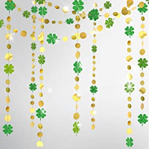 Cheerland Gold Circle Dots Glitter Shamrock Clover Garland Kit for St Patrick's Day Decoration Lucky St Patricks Day Decorations Green Flower Party Hanging Decor Irish Baby Shower Backdrop Birthday …